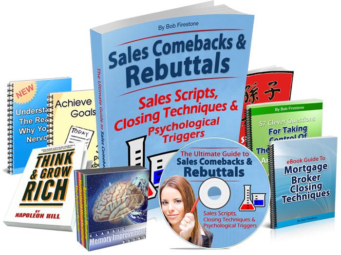 The Complete Package: Sales scripts, sales rebuttals, closing techniques, mp3 audio training, + 7 bonus items.
